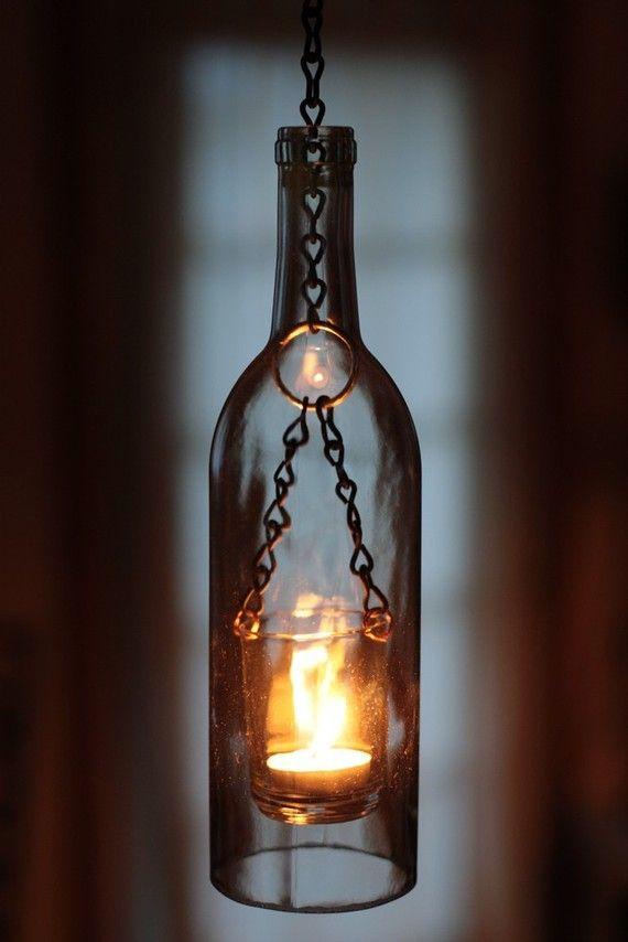 DIY wine bottle lantern - easy, beautiful, safe. Love it!