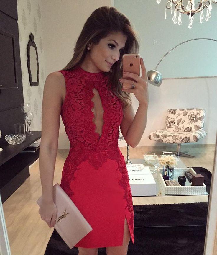 4bdb9d377 Vestido vermelho. Vestido vermelho Vestido De Festa Curto Renda ...
