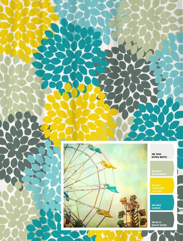Shower Curtain Vintage Ferris Wheel Inspired Floral Yellow Shower Curtains