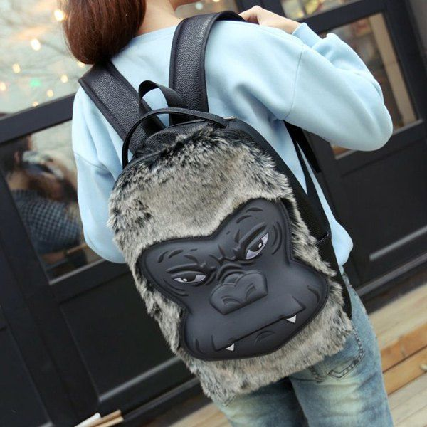 $13.12 Trendy Women's Satchel With Fur and Animal Pattern Design