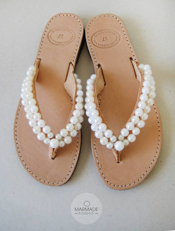 13cc7a867937d  sandals  pearls Wedding flip flops Handmade leather flip flops by  MyMarmade