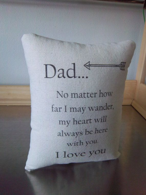 long distance dad gift pillow cotton throw by SweetMeadowDesigns