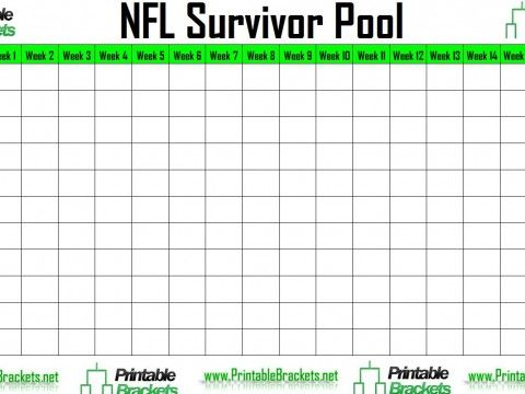 screenshot of the NFL Survivor Pool Football Pinterest - foot ball square template