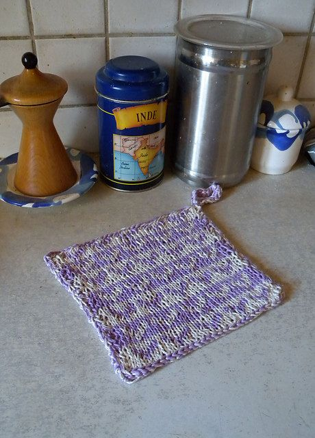 Potholder knitting pattern, double knitting colorwork pattern, knit ...