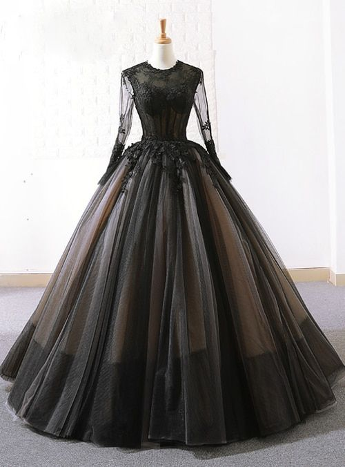 Vintage Black Tulle Lace Long Sleeve Floor Length Wedding Dress Black Ball Gown Black Wedding Dresses Floor Length Wedding Dress