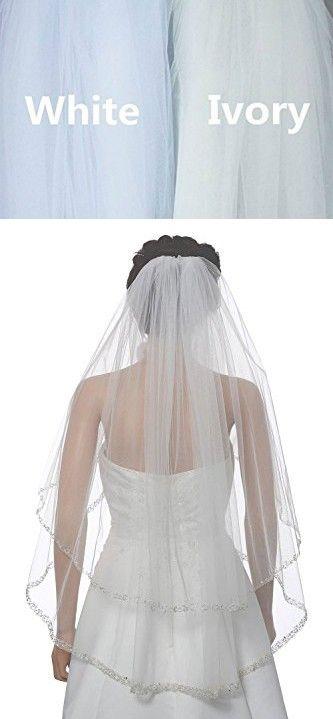 Xingmeng Elegant Tier Short Crystal Beaded Edge Bridal Veil With