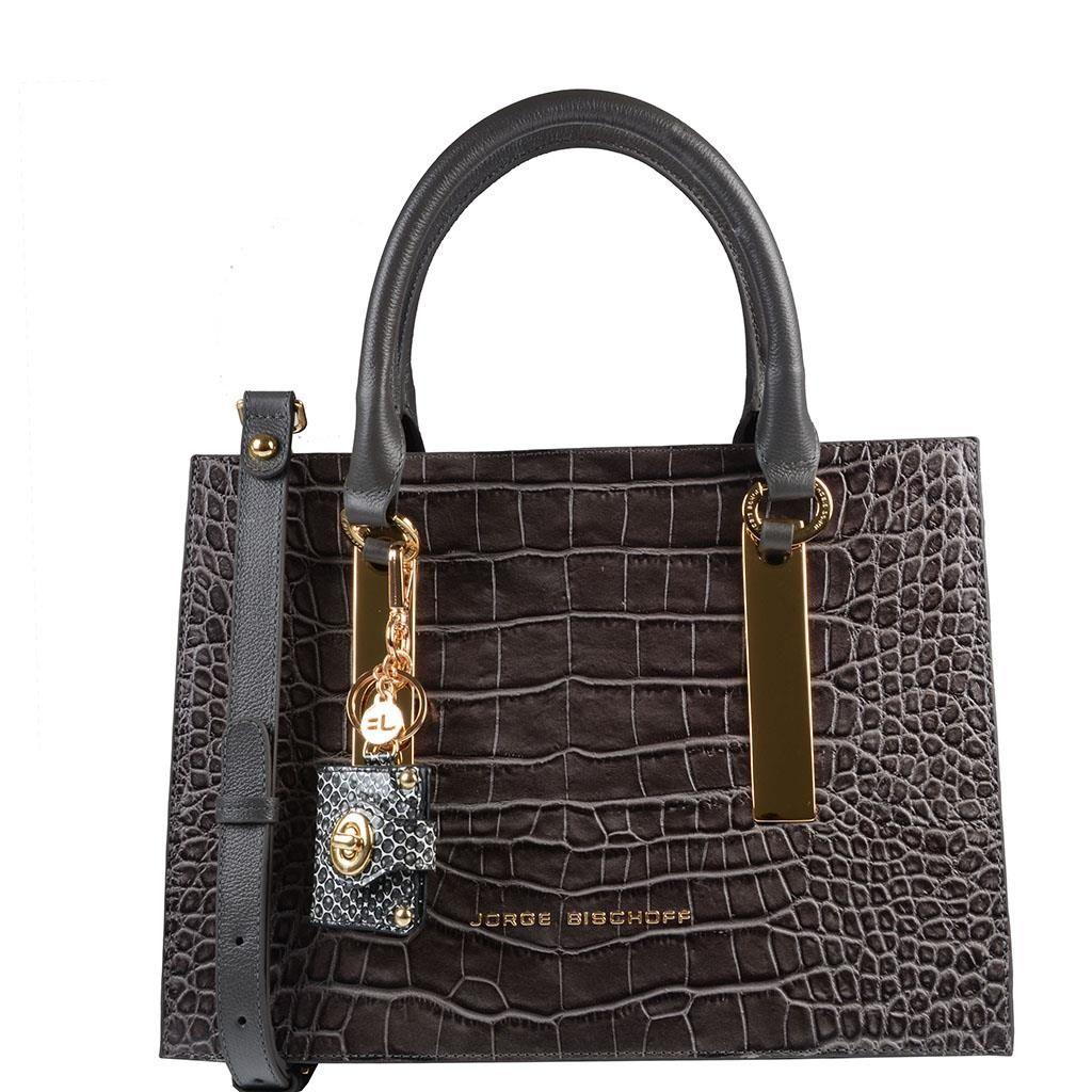 fe79f5faa Bolsa em couro com textura croco cinza com exclusivo chaveiro em couro  estampado snake favo branco