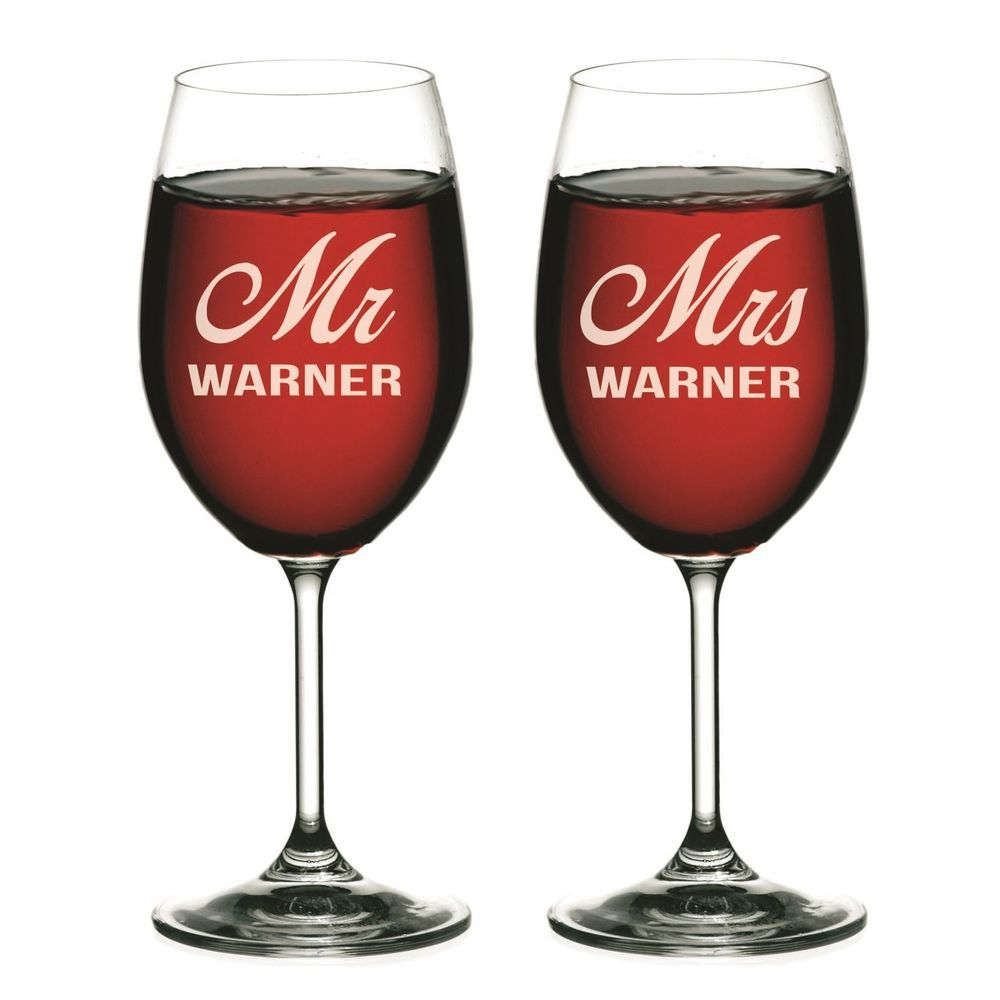 Details About Mr And Mrs Personalized Wine Glasses Set Of 2 Personalized Wine Glasses Custom Wine Glasses Bridesmaid Wine Glasses