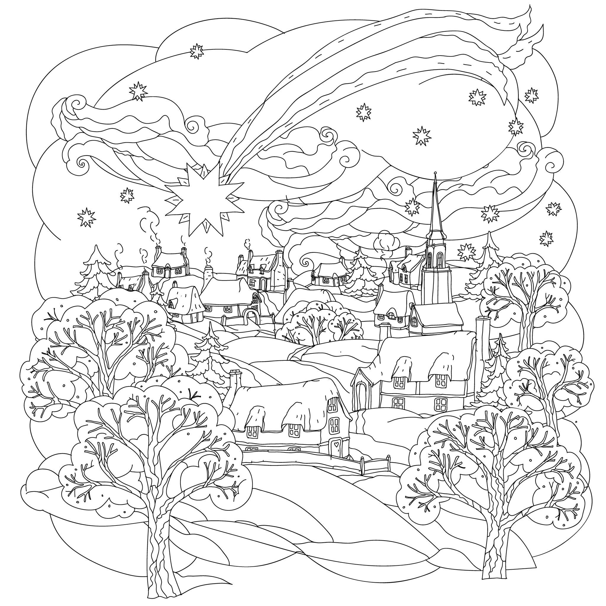 Christmas Star Flies Over Winter Village A Beautiful And Simple Xmas Coloring Page From The Gallery Events