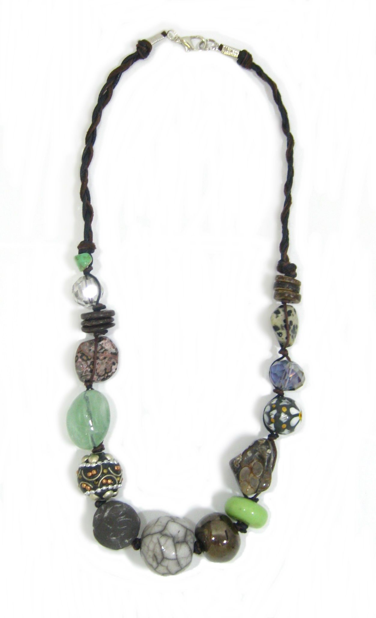 Green and Black Ceramic and Stone with cord. Semi-precious and handmade ceramic beads. www.marzipan.co.za