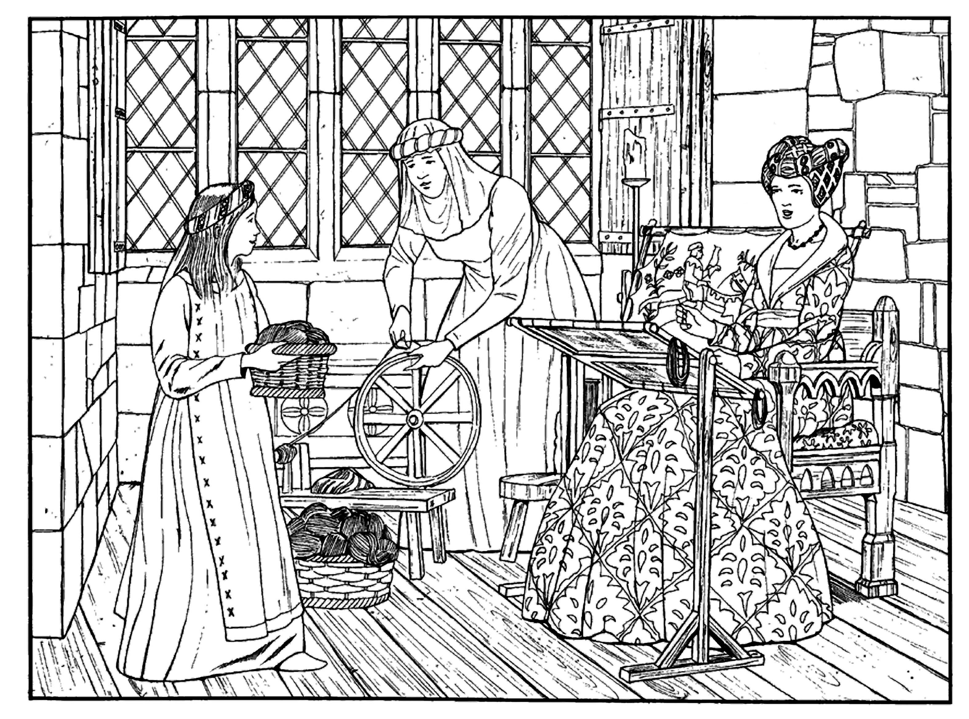 Medieval textiles coloring page Medieval Times Intensive
