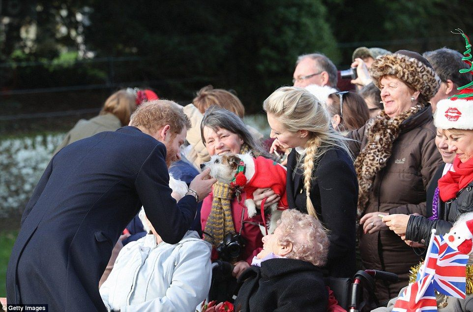 Prince Harry: The 32-year-old royal even stopped to say hello to a dog wearing a festive get-up including baubles and a jumper