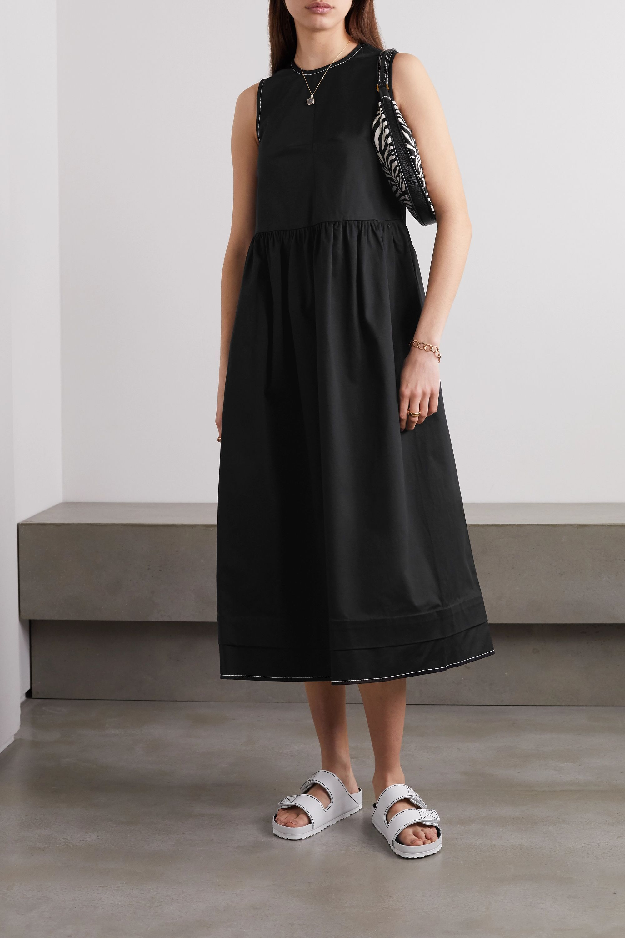 Black Evelyn Stretch Cotton Twill Midi Dress Daughter Net A Porter Midi Dress Dress To Impress Fashion [ 2999 x 2000 Pixel ]