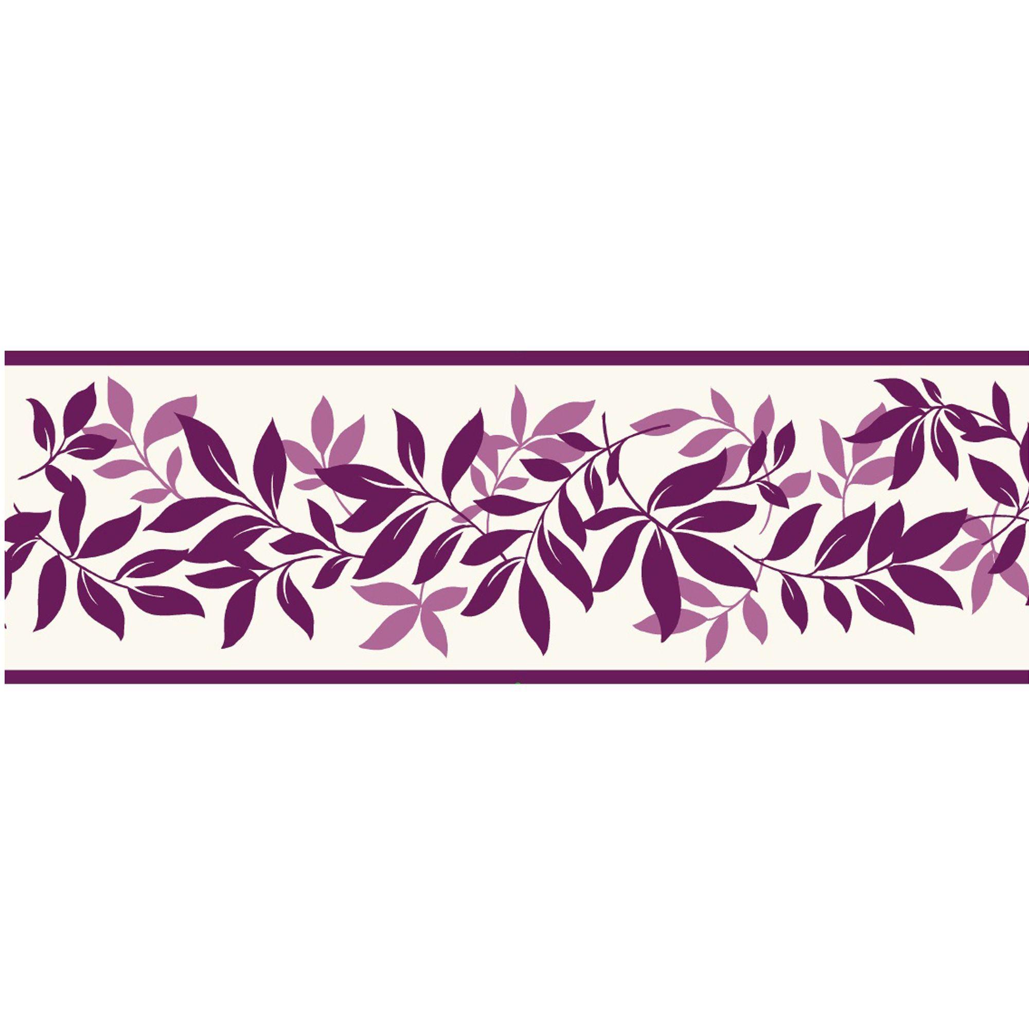 Leaf Trail Plum Border Departments Diy At B Q Modern Floral B Q Wallpaper Border