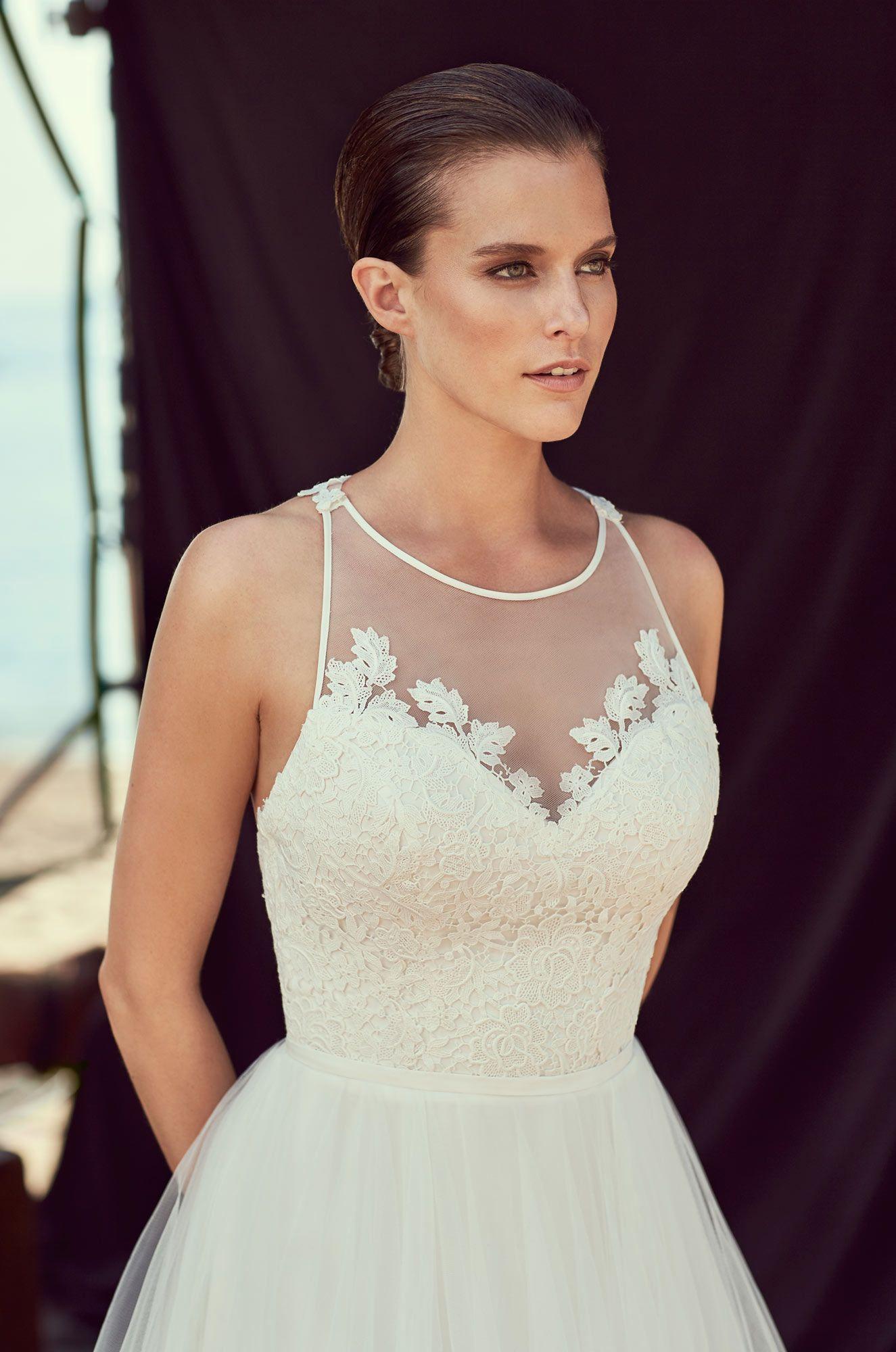 Lace racerback wedding dress style lace bodice tulle