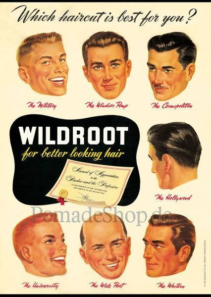 1950s mens hairstyles poster