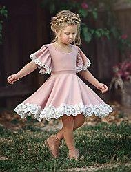 Kinder / Baby Mädchen Aktiv / Süß Party / Festtage Regenbogen Ärmellos Asymmetrisch Kleid Regenbogen 2019 - € 17.47 #holidayclothes