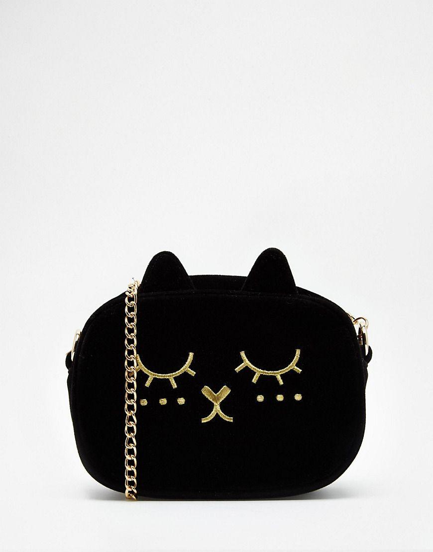 ASOS Cat Velvet Cross Body Bag