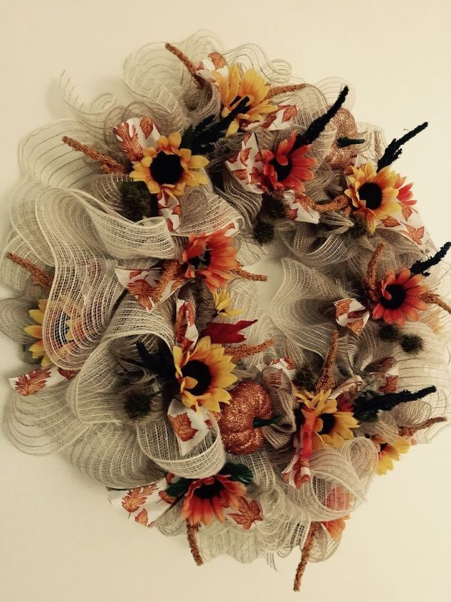 deco mesh fall wreath, crafts, seasonal holiday decor, wreaths