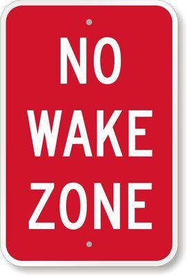 """SmartSign Aluminum Sign, Legend """"No Wake Zone"""", 18"""" high x 12"""" wide, White on Red Lyle Signs http://www.amazon.com/dp/B00895Z6PC/ref=cm_sw_r_pi_dp_HiCVtb0ZDW35KRQC"""