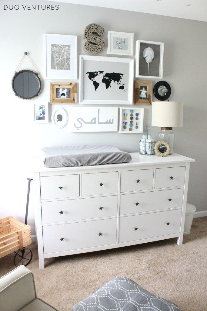 Hamptons Inspired Coastal Nursery Project Nursery Small Space Nursery Changing Table Dresser Ikea Hemnes Dresser