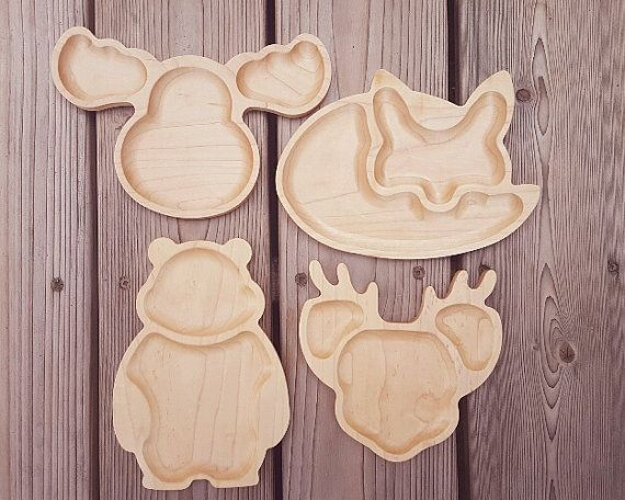 Kids Children Wooden Food Plate Tray Dish Natural Catoon Tableware Handcraft New