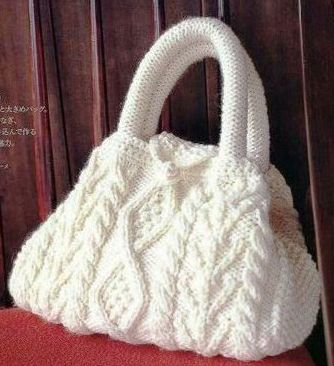Cable handbag for girls, knitting patterns