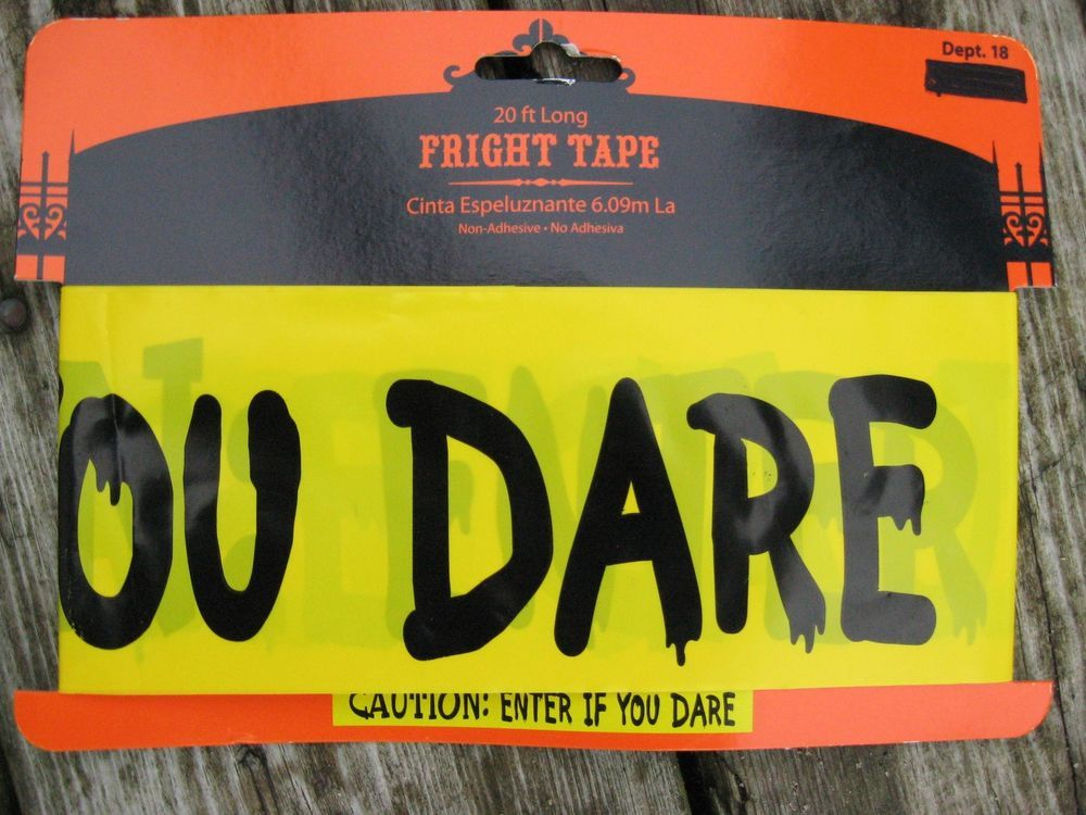 Fright Tape~CAUTION ENTER IF YOU DARE~Halloween Decor~Prop~20 ft