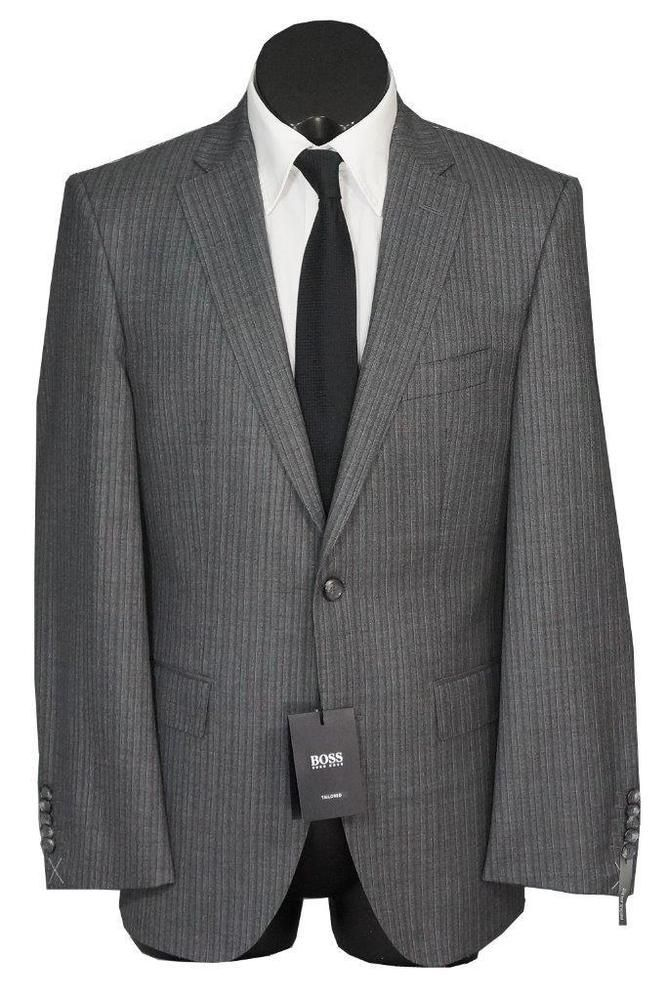 6d28f7c0f eBay #Sponsored New Hugo Boss Tailored T-Howard5/Court6 150S Wool Mens Suit  Gray Pinstripe 38R