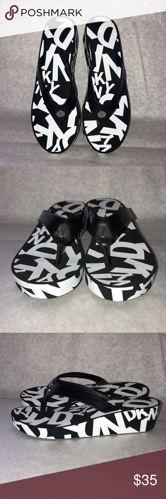 DKNY Sandals 👡 DKNY flip flop with DKNY logo (black and