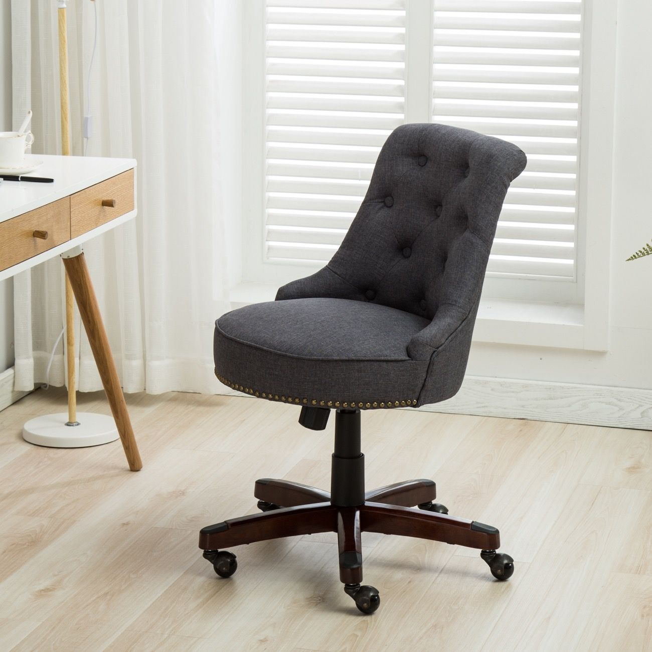 BELLEZE Office Chair Tufted MidBack Height Adjustable