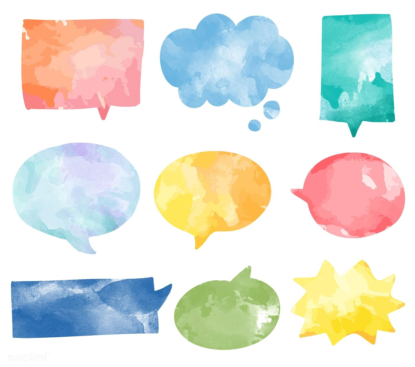 Set Of Colorful Watercolor Speech Bubbles Vector Free Image By