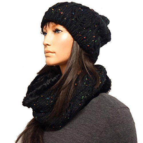 1d8b88254c94b3 2er Set Mütze Loopschal Strickmütze Wintermütze Acryl Long Beanie Damen.  Der Perfekt Style sehr elegant