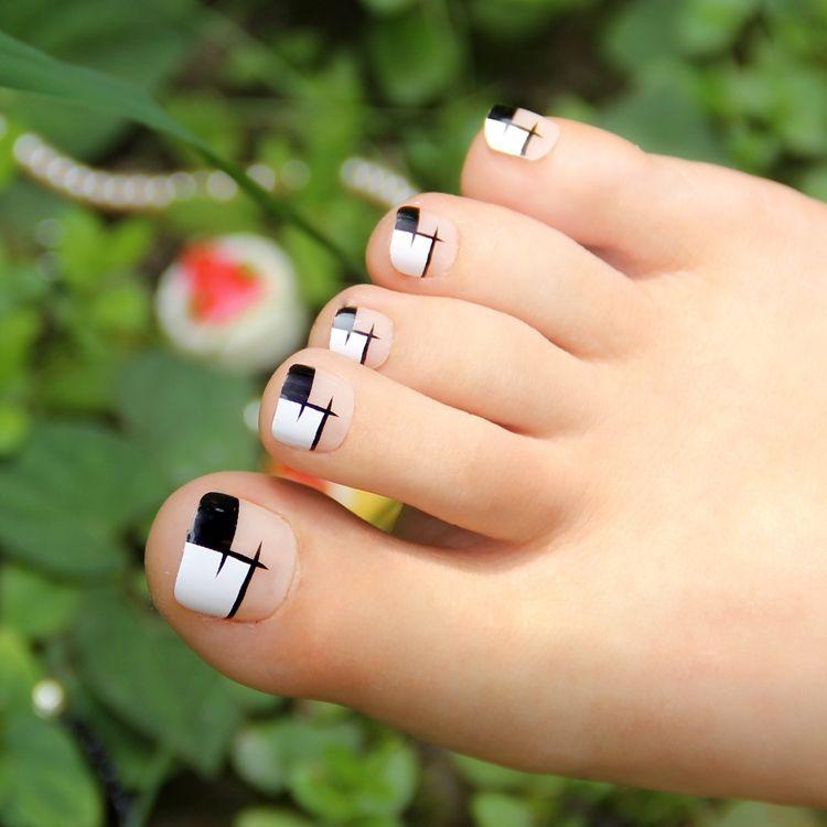 False Toe Nail Art Display   Uñas   Pinterest   Toe nail art, White ...