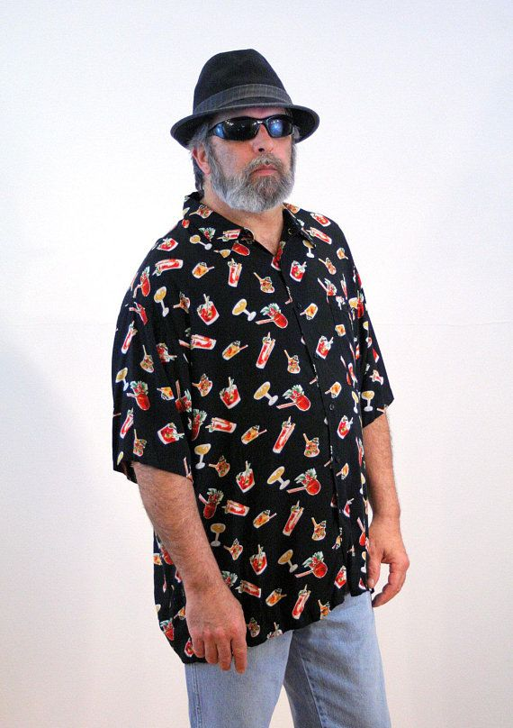58c8ef8e 90s Party Shirt 2XL, Tiki Beverages Hawaiian Cocktail Hour Novelty Print  Tropical Drinks Men's Rayon