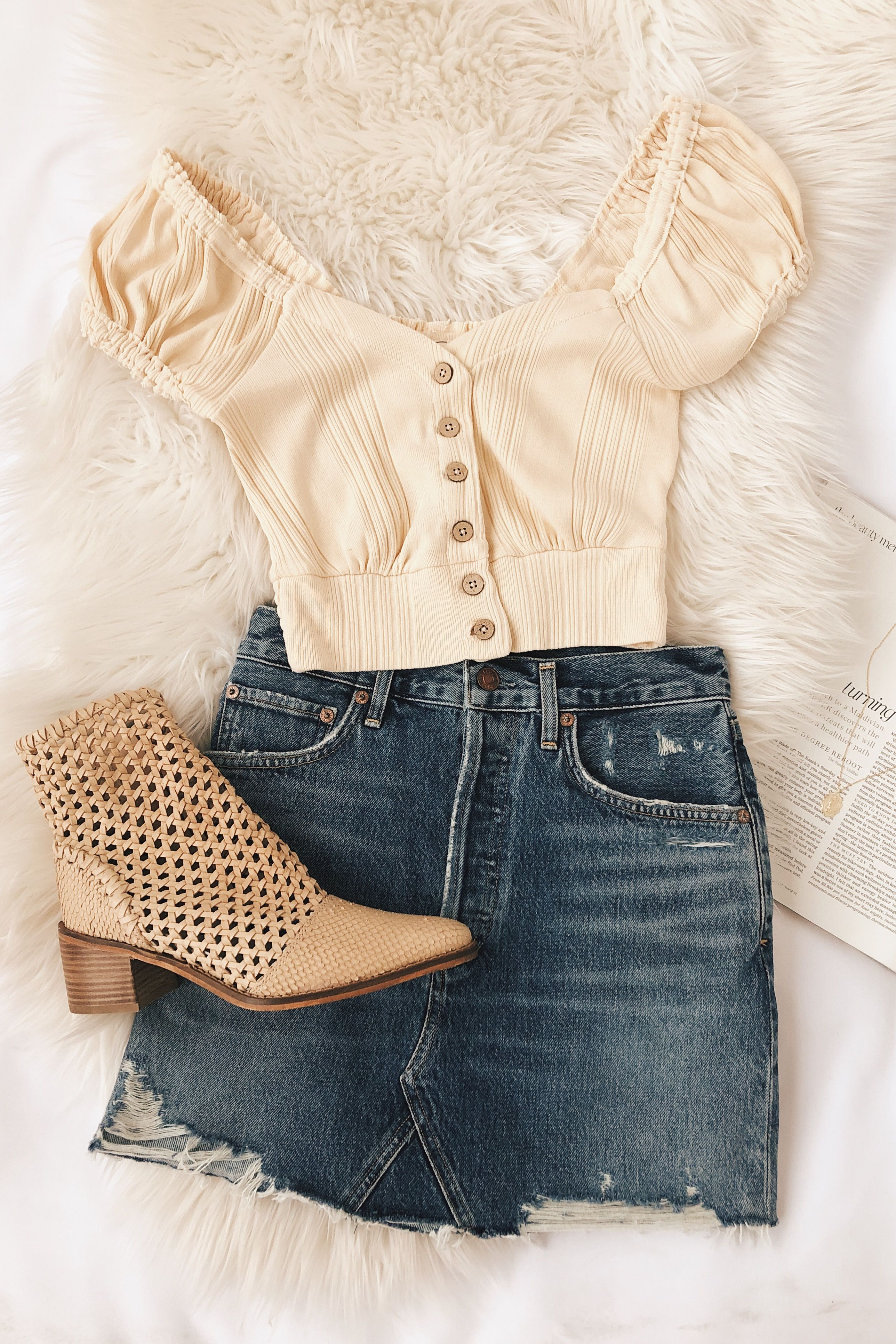 a96989938bc1 Cute spring outfit.  croptop  springfashion  outfitinspo  denimskirt   ankleboot  lovelulus