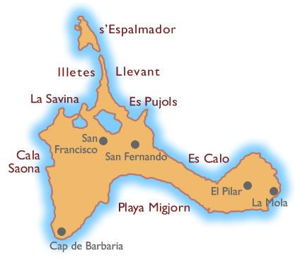 Mapa De Las Playas De La Isla De Formentera Islas Baleares
