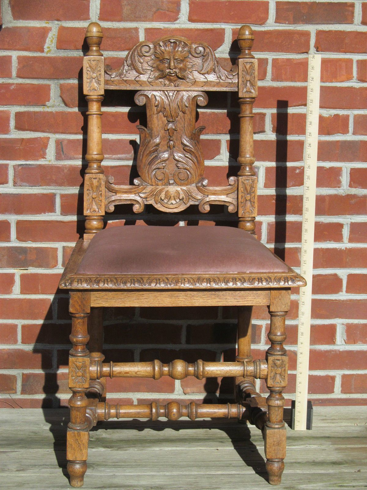 Victorian carved light oak north wind chair gothic