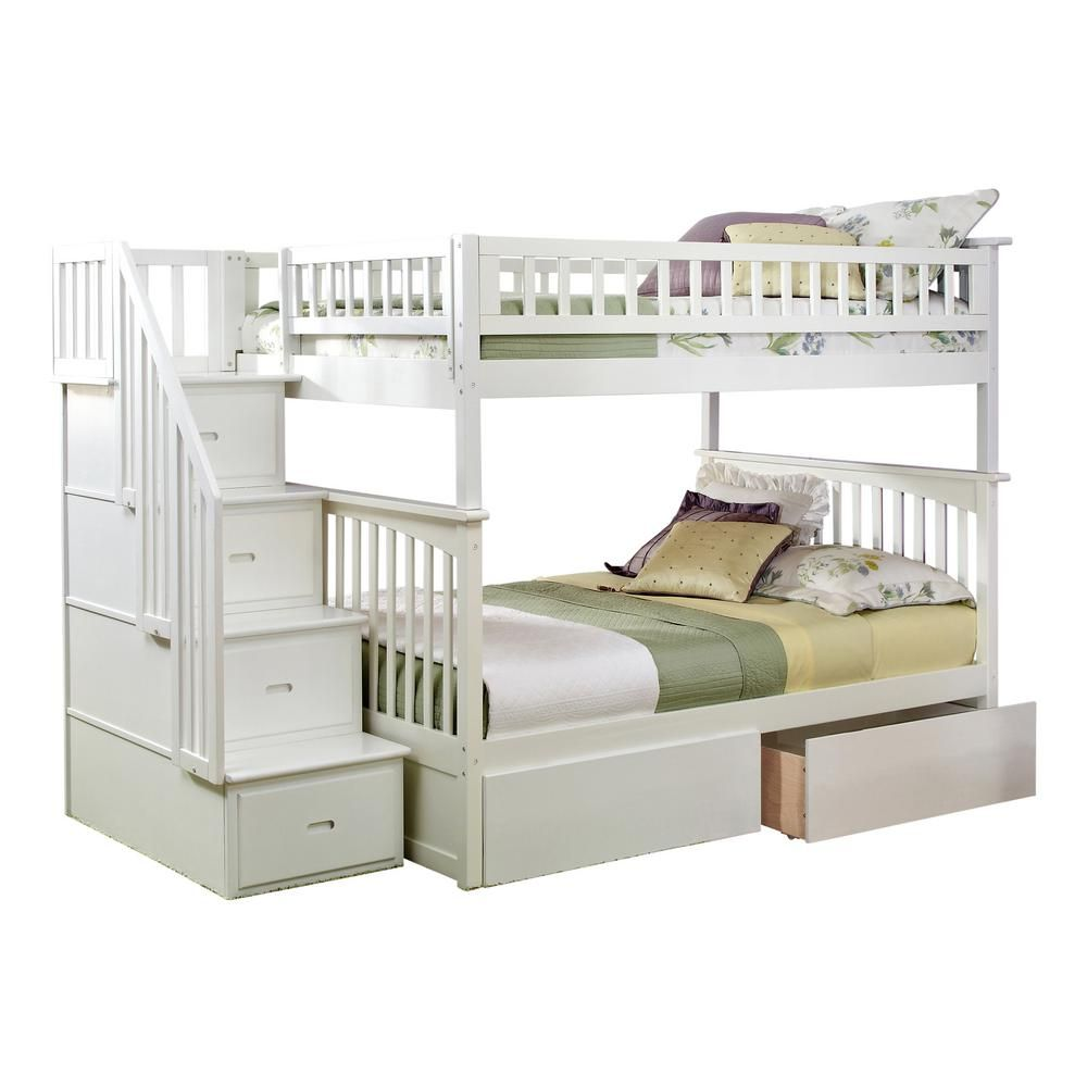 Loft bed with desk queen  Columbia Staircase White Full Over Full Bunk Bed with Urban Bed