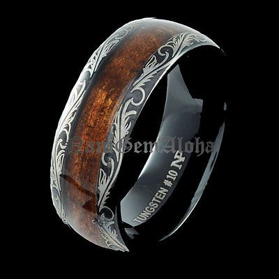 Koa Wood Ring Black Tungsten Hawaiian Scroll Band Comfort Fit Dome