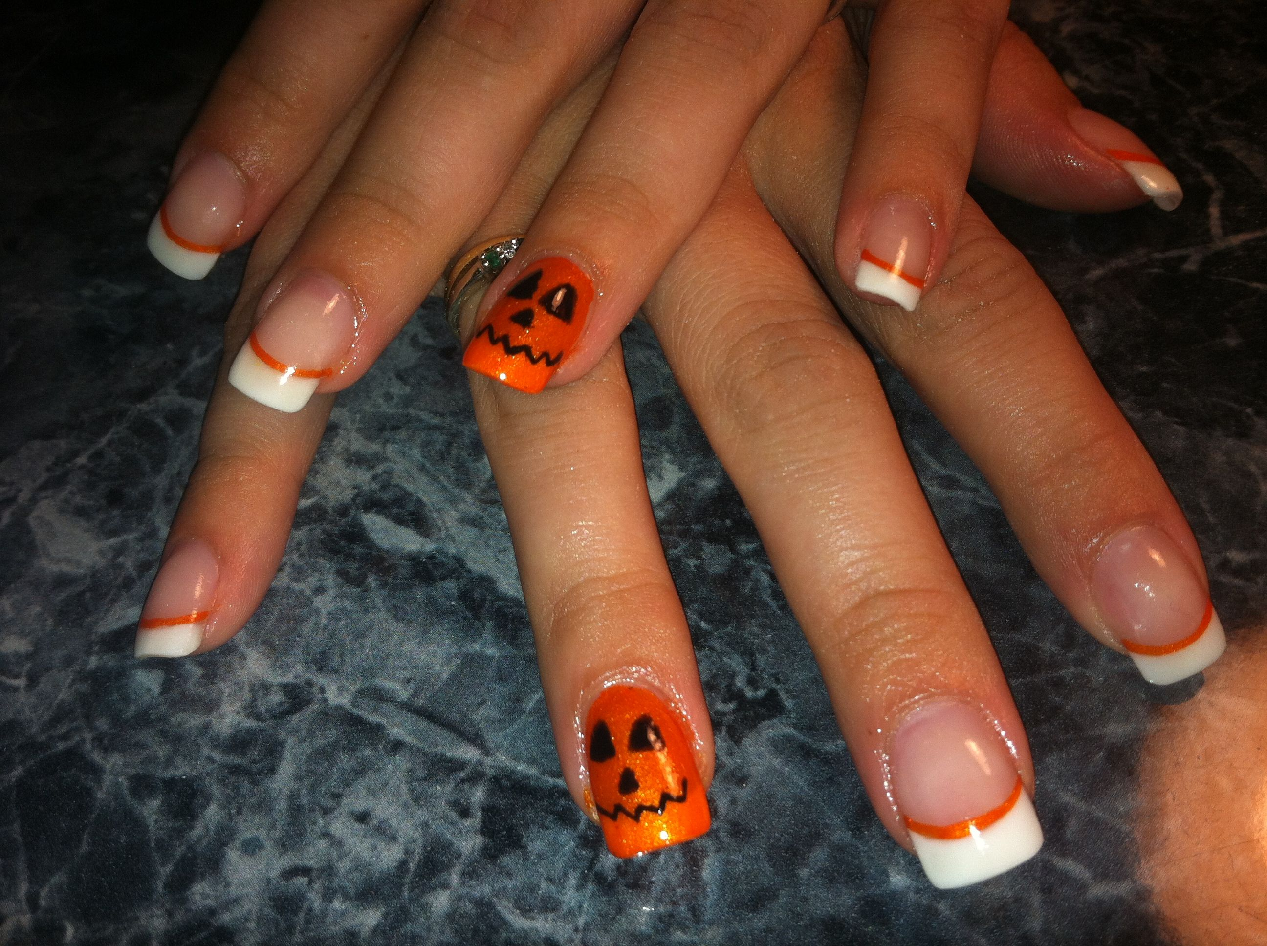 Halloween nail fun on pink and white acrylic by Michelle ...