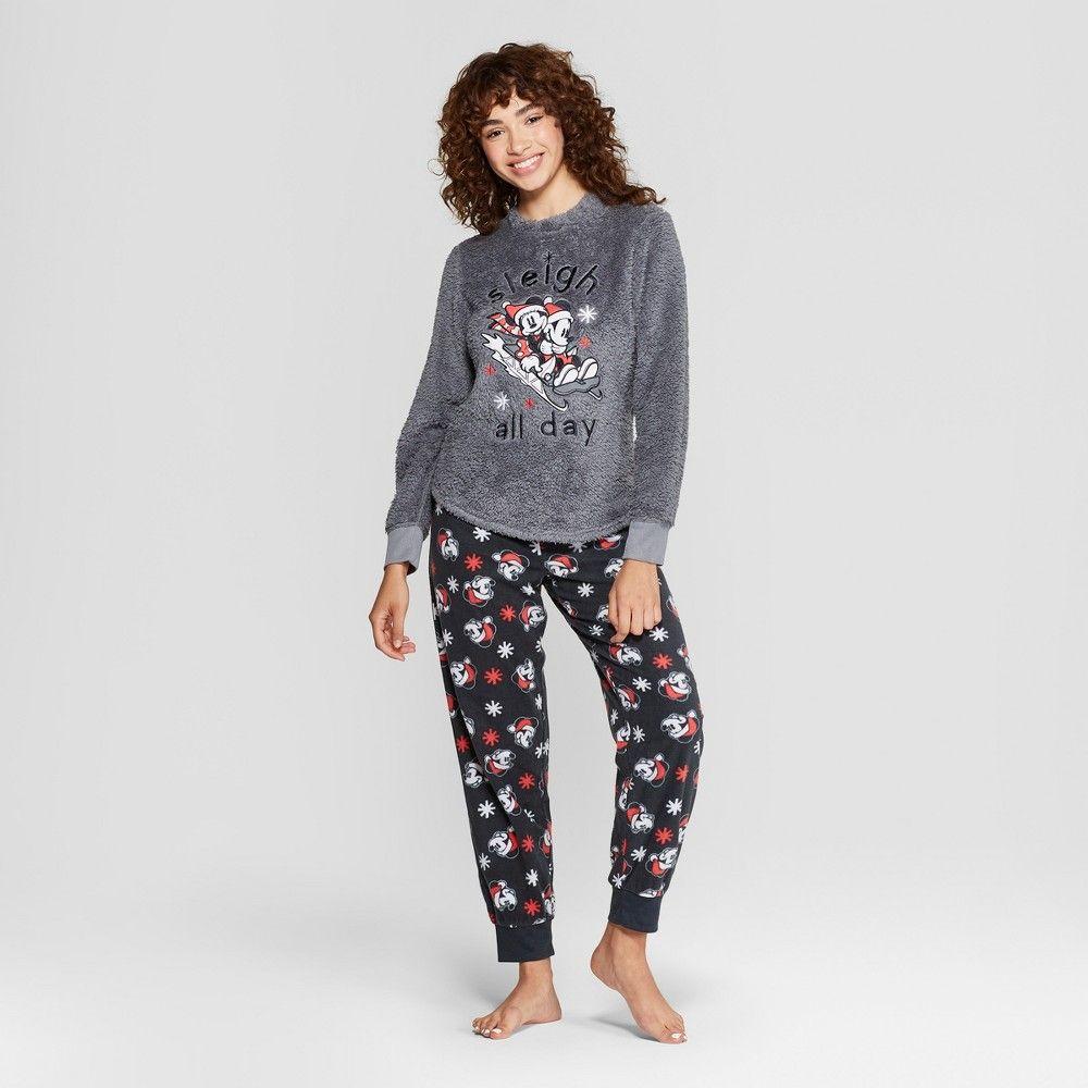 Women s Disney Mickey Mouse   Friends Holiday Cozy Pajama Set - Charcoal  XS faf69b2e8