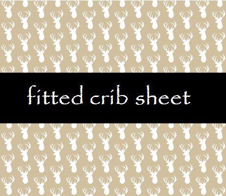 Deer Crib sheet Fitted Crib sheet BUCKS TRACKS & RUBS by OCKBaby