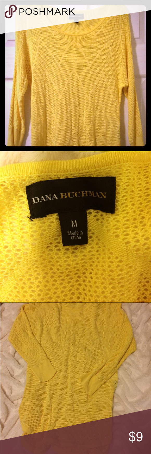 SALE netted Dana Buchman  yellow top Yellow net Dana Buchman long sleeve top. Perfect fit. Flaw in holes on top of one shoulder where hanger got stuck (reflected in price). Hardly noticeable especially if work with hair down or under a jacket. Dana Buchman Tops