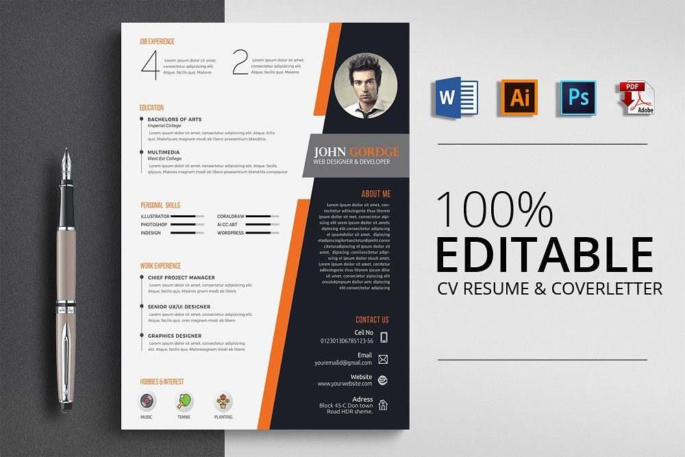 Stylish Word Cv Resume Template Cv Resume Template Resume