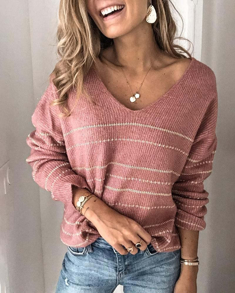 Striped Long Sleeve Casual Sweater  #womenscasualstyle