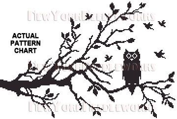 Owl Cross Stitch, Cross Stitch Pattern, Counted Cross Stitch Pattern, Cross Stitch Owl, Owl Silhouette, Needlepoint Patterns, Owl Pattern, Owls by NewYorkNeedleworks on Etsy    OWL IN A TREE SILHOUETTE is charted for 18 ct. and approximate finished size is 10 x 6.7. The background is left blank, add your own color or let canvas show. Listed is the original picture from which the chart was made and sample. Dimensions change with count size.    AVAILABLE INSTANTLY for DOWNLOAD when PAID…