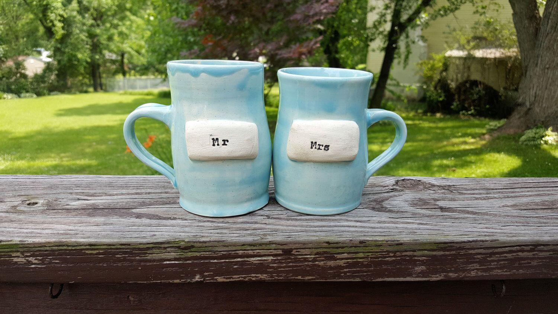 Couple's Ceramic Mug Set; Personalized by PotteryByKelsey on Etsy https://www.etsy.com/listing/450198676/couples-ceramic-mug-set-personalized