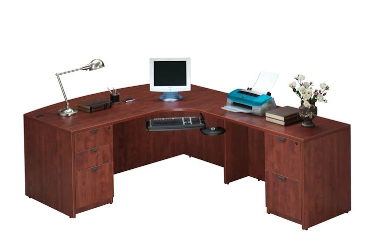 Bow Front L Shaped Desk Mahogany   Right Return By Office Source   1 800