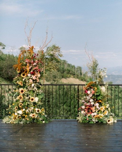 Late Summer Wedding, Sunflower Arch. Floral Arches.